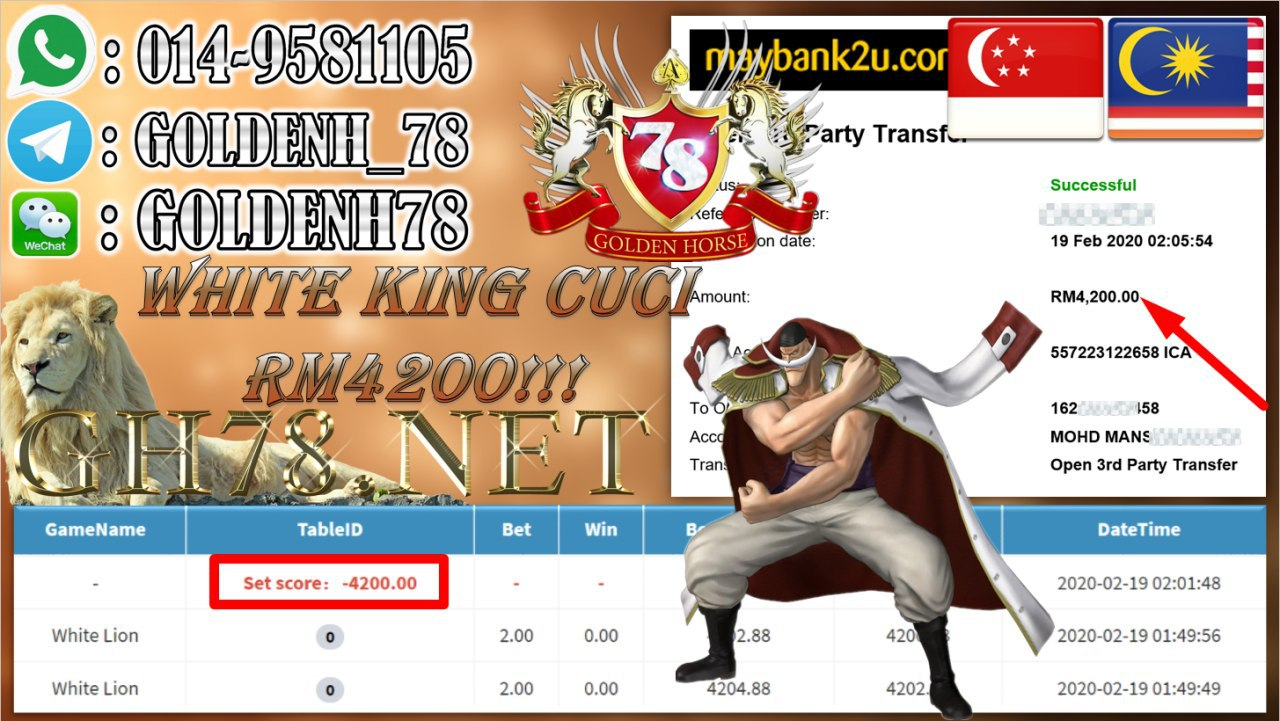 2020 NEW YEAR !!! MEMBER MAIN PUSSY888 ,WHITE KING, WITDRAW RM4200!!!