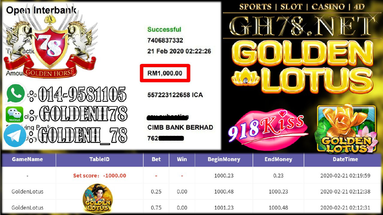 2020 NEW YEAR !!! MEMBER MAIN 918KISS, GOLDEN LOTUS , WITHDRAW RM1000!!