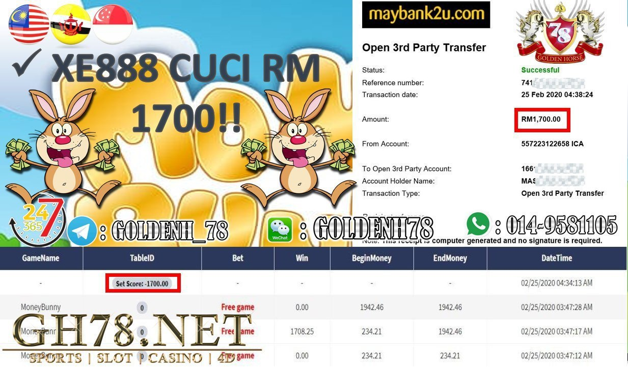 2020 NEW YEAR !!! MEMBER MAIN XE88, MONEY BUNNY , WITHDRAW RM1700!!