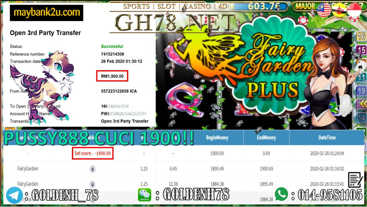 2020 NEW YEAR !!! MEMBER MAIN PUSSY888, FAIRY GARDEN , WITHDRAW RM1900!!!