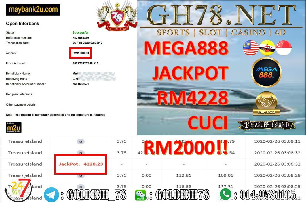 2020 NEW YEAR !!! MEMBER MAIN MEGA888, TREASURE ISLAND (JACKPOT) , WITHDRAW RM2000!!