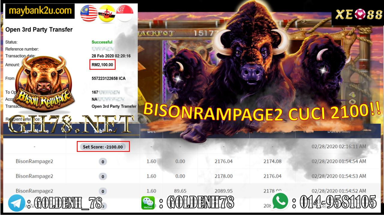 2020 NEW YEAR !!! MEMBER MAIN XE88, BISONRAMPAGE2 , WITHDRAW RM2100!!!