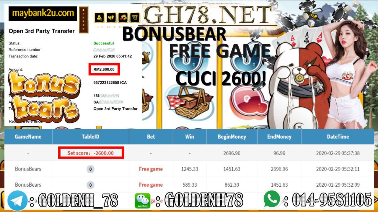 MAIN BONUS BEAR CUCI RM2600!!!