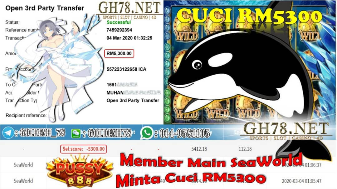 MEMBER MAIN PUSSY888 GAME SEAWORLD MINTA OUT RM5300!!!!