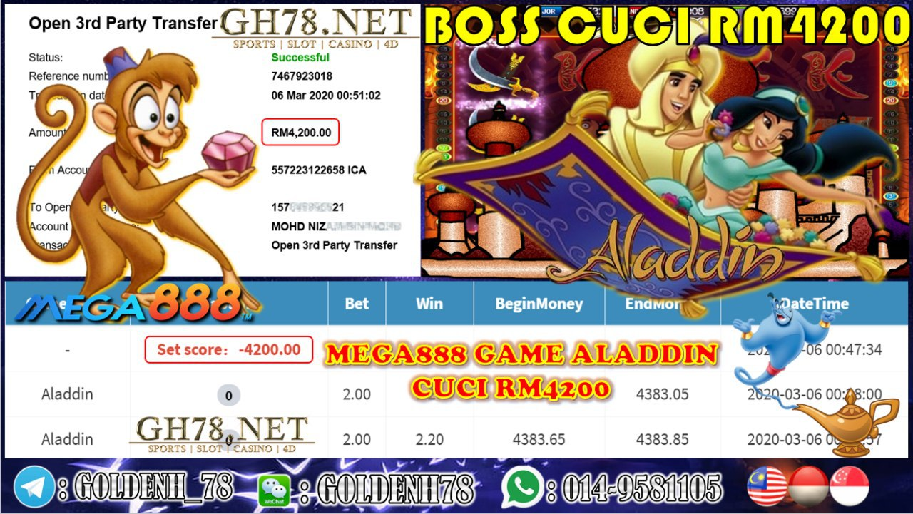 MEMBER MAIN MEGA888 GAME ALADDIN MINTA OUT RM4200!!!!