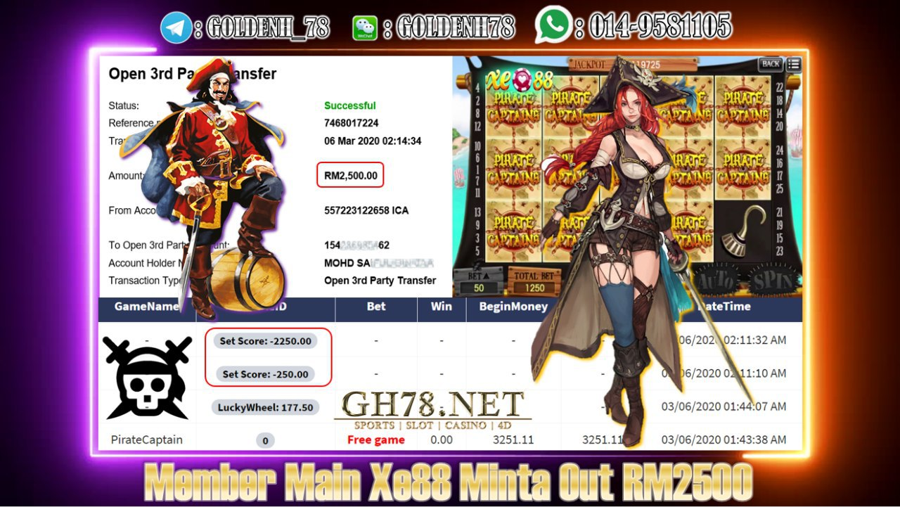 MEMBER MAIN XE88 GAME PIRATE CAPTAIN MINTA OUT RM2500!!!!