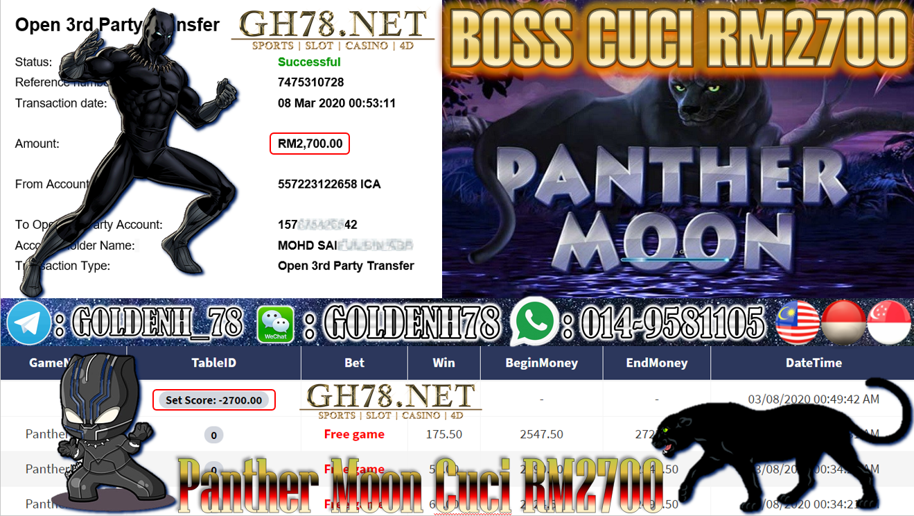 MEMBER MAIN XE88 GAME PANTHER MOON MINTA OUT RM2700!!!!