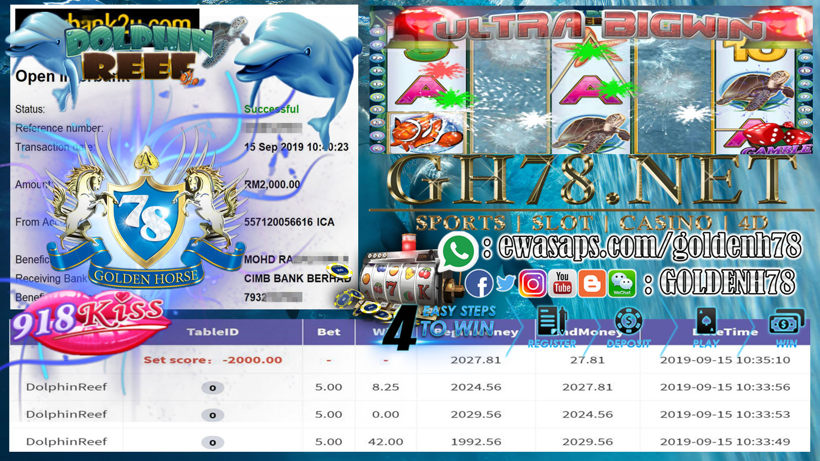 MEMBER MAIN GAME DOLPHINREEF MINTA CUCI RM2000 !!!