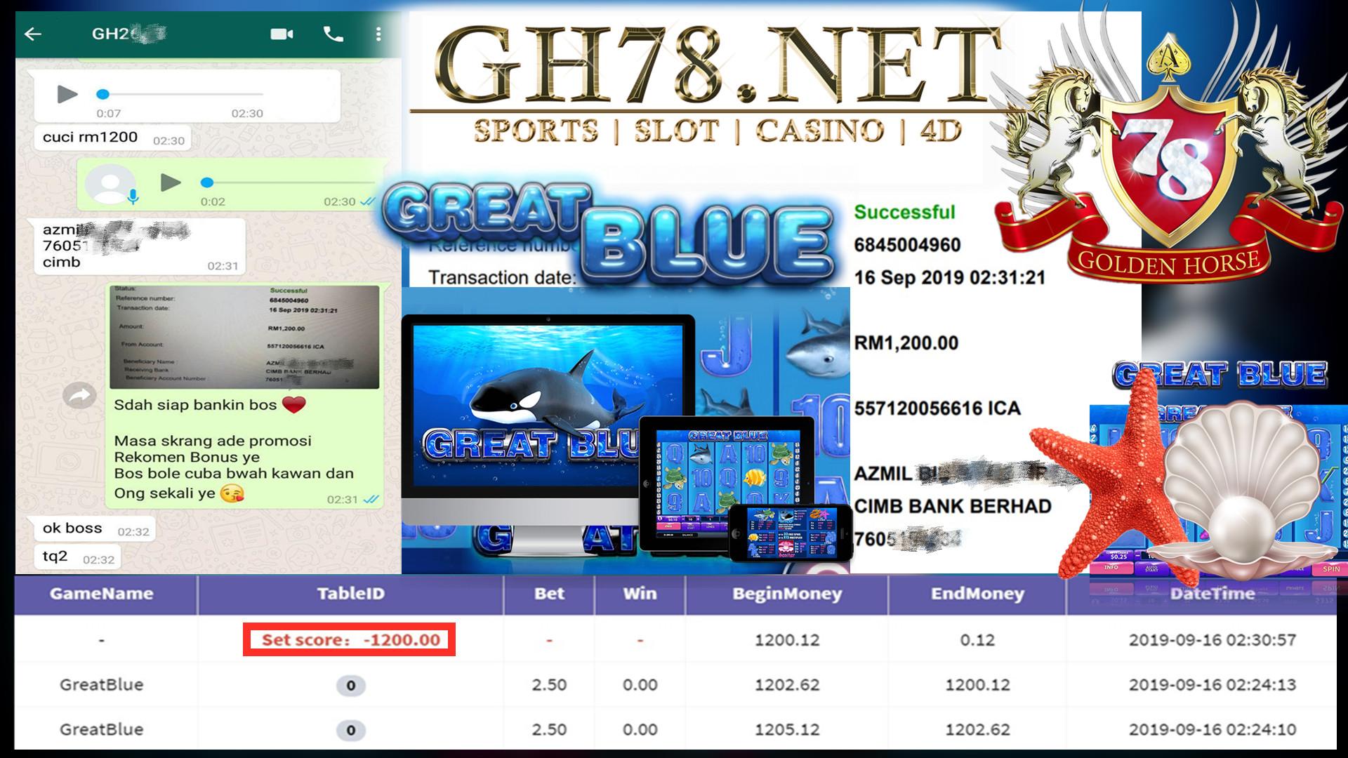 MEMBER MAIN GAME GREATBLUE MINTA CUCI RM1200 !!!
