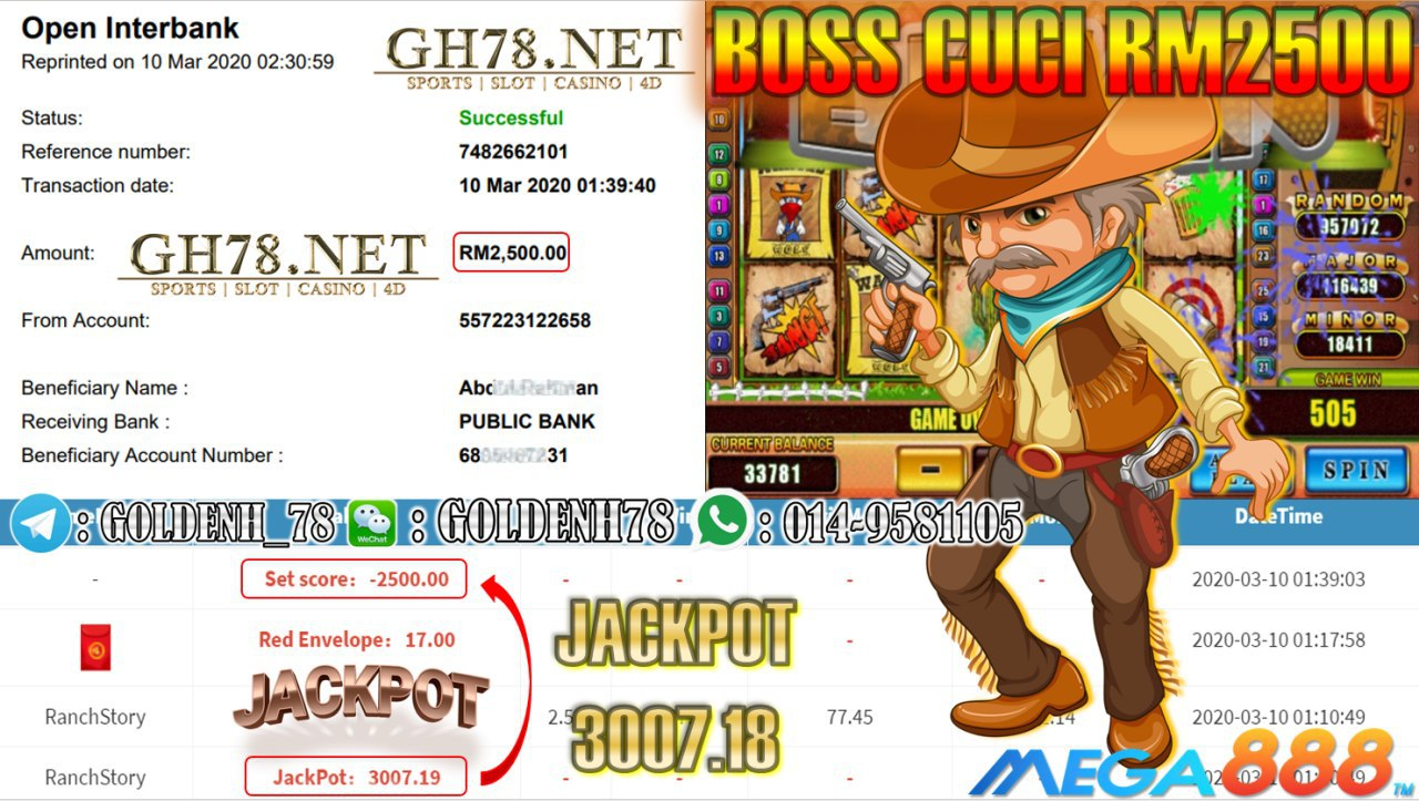 MEMBER MAIN MEGA888 GAME RANCH STORY DAPAT JACKPOT MINTA OUT RM2500!!!