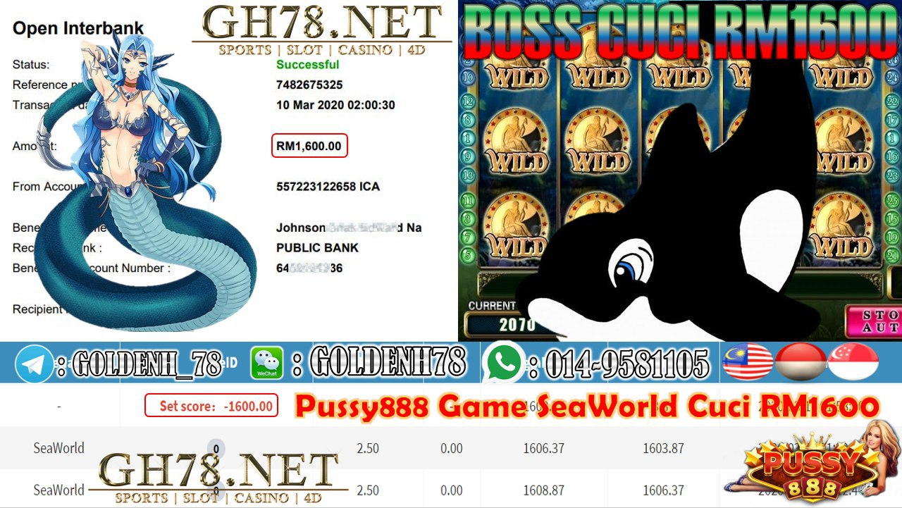 MEMBER MAIN PUSSY888 GAME SEAWORLD MINTA OUT RM1600!!!!