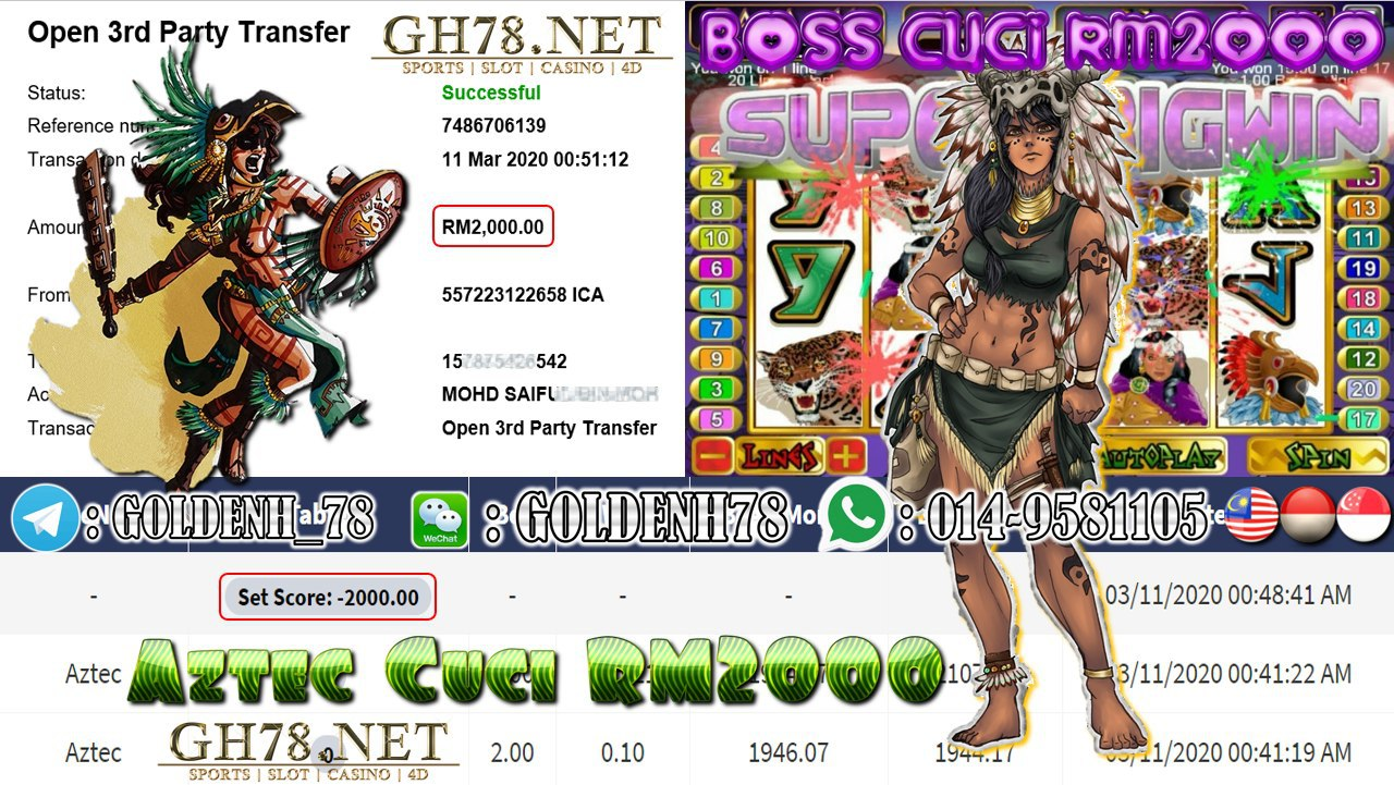 MEMBER MAIN XE88 GAME AZTEC MINTA OUT RM2000!!!!