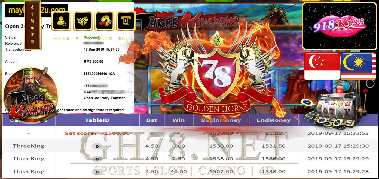 MEMBER MAIN GAME THREEKING MINTA CUCI RM1500 !!!