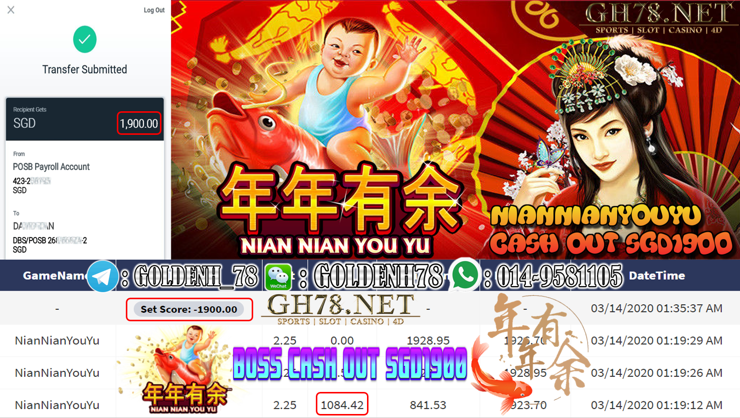 MEMBER MAIN XE88 GAME NIAN NIAN YOU YU MINTA OUT $1900!!!!