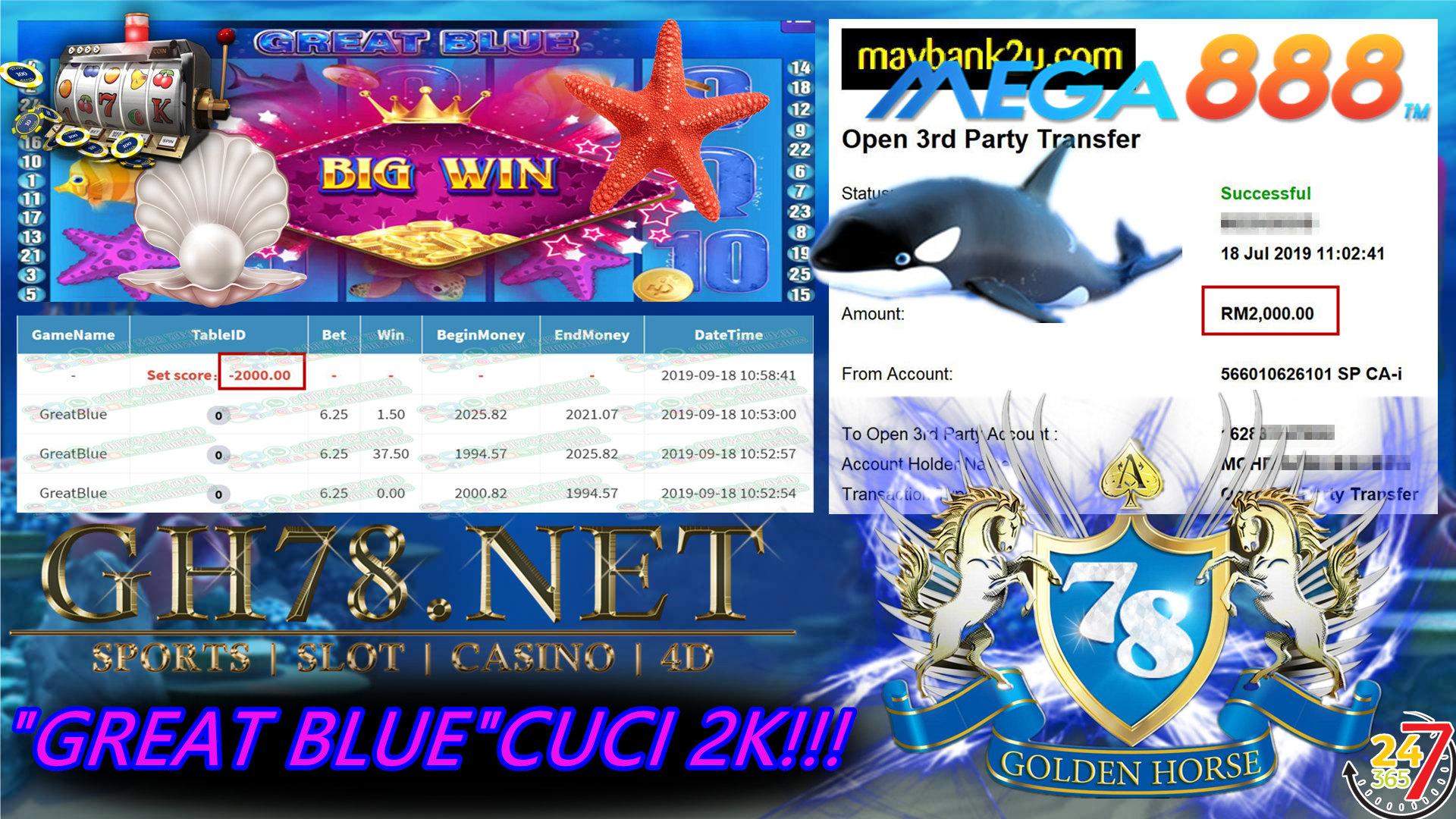 MAIN GAME MEGA888 FT.GREATBLUE MINTA OUT RM2,000