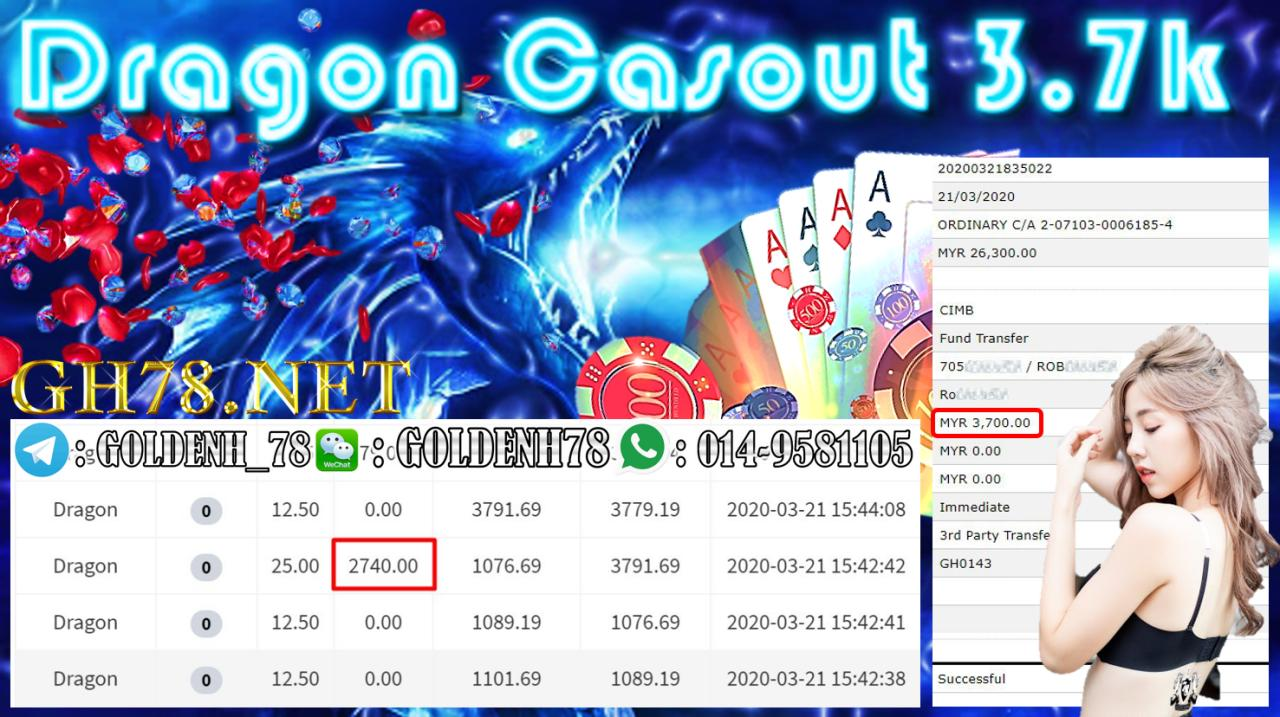 MEMBER MAIN 918KISS GAME DRAGON MINTA OUT RM3700!!!!