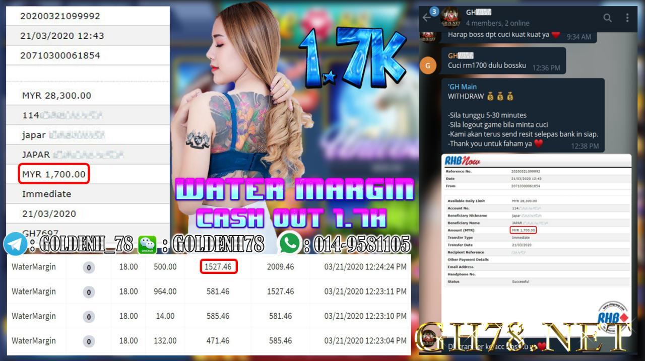 MEMBER MAIN XE88 GAME WATER MARGIN MINTA OUT RM1700!!!!