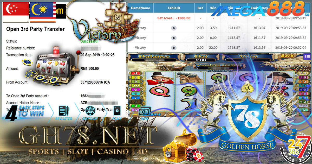 MAIN GAME MEGA888 FT.VICTORY MINTA OUT RM1,500