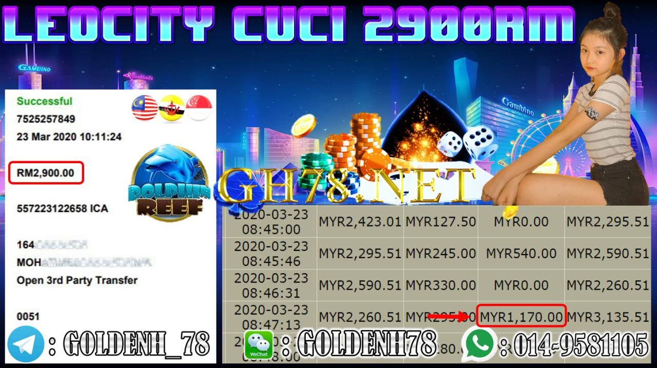 MEMBER MAIN LEOCITY88 GAME DOLPHINREEF MINTA OUT RM2900!!!!