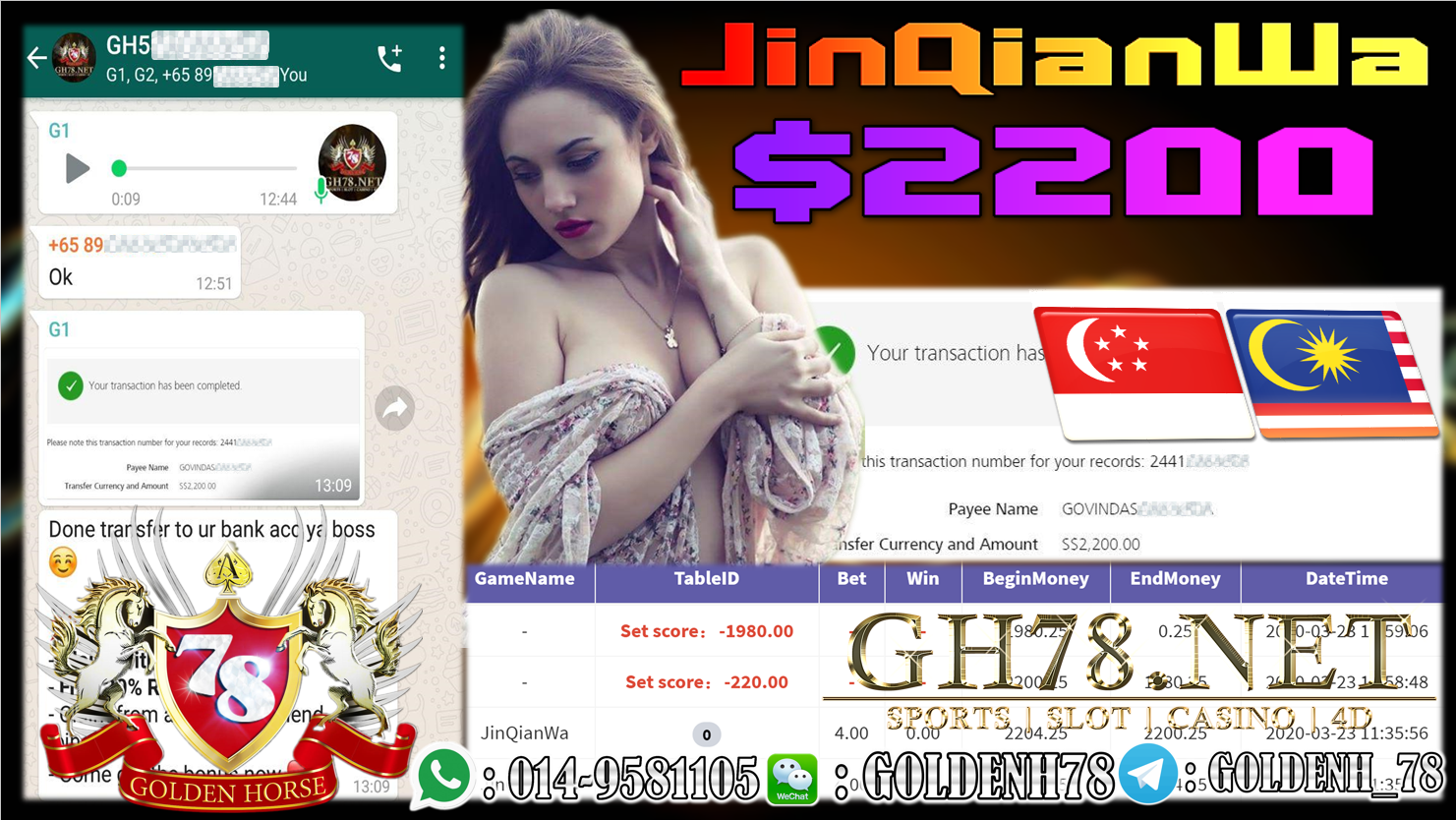 MEMBER MAIN 918KISS GAME JINQIANWA MINTA OUT $2200!!!!