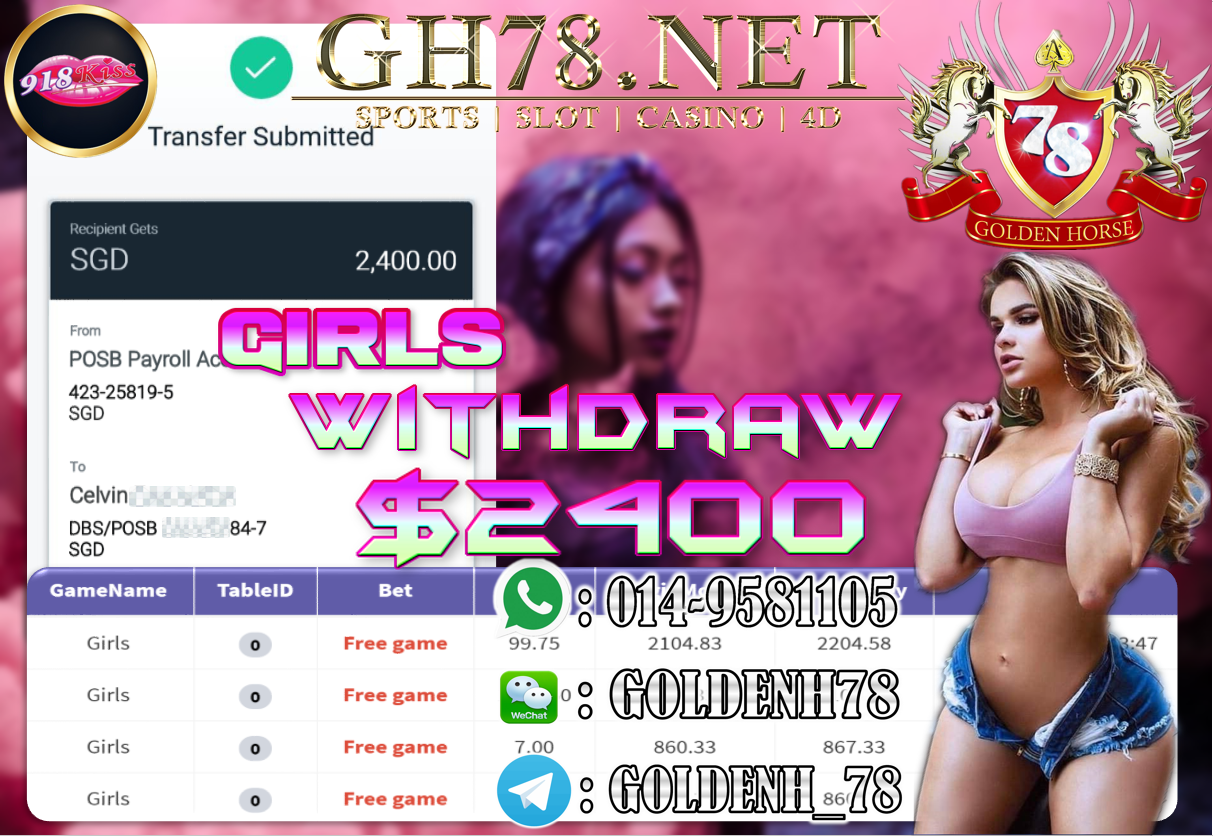 MEMBER MAIN 918KISS GAME GIRLS MINTA OUT $2400 !!