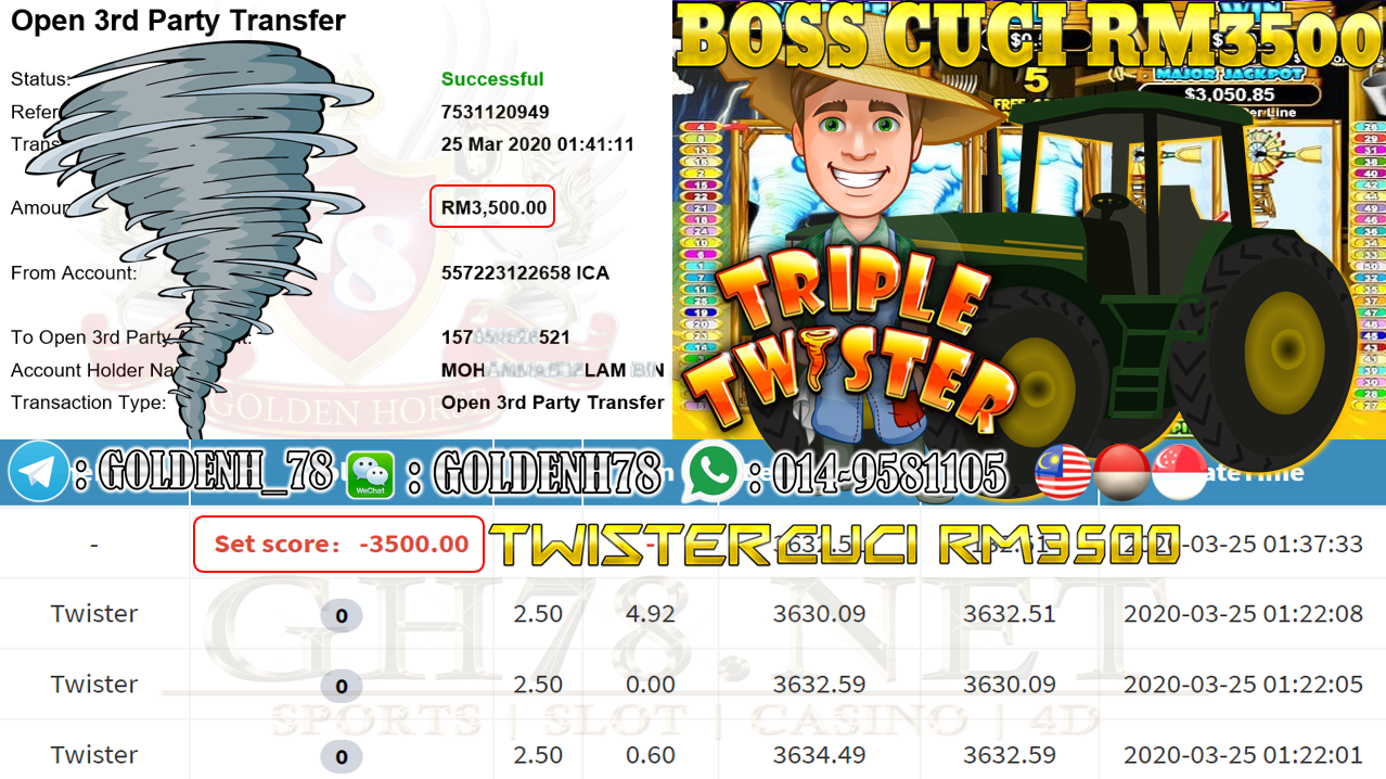 MEMBER MAIN MEGA888 GAME TWISTER MINTA OUT RM3500 !!
