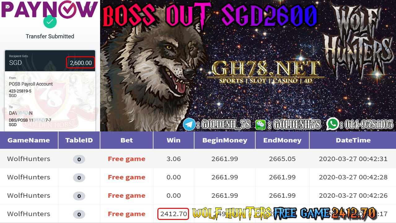 MEMBER MAIN 918KISS GAME WOLF HUNTERS MINTA OUT SGD2600!!!!