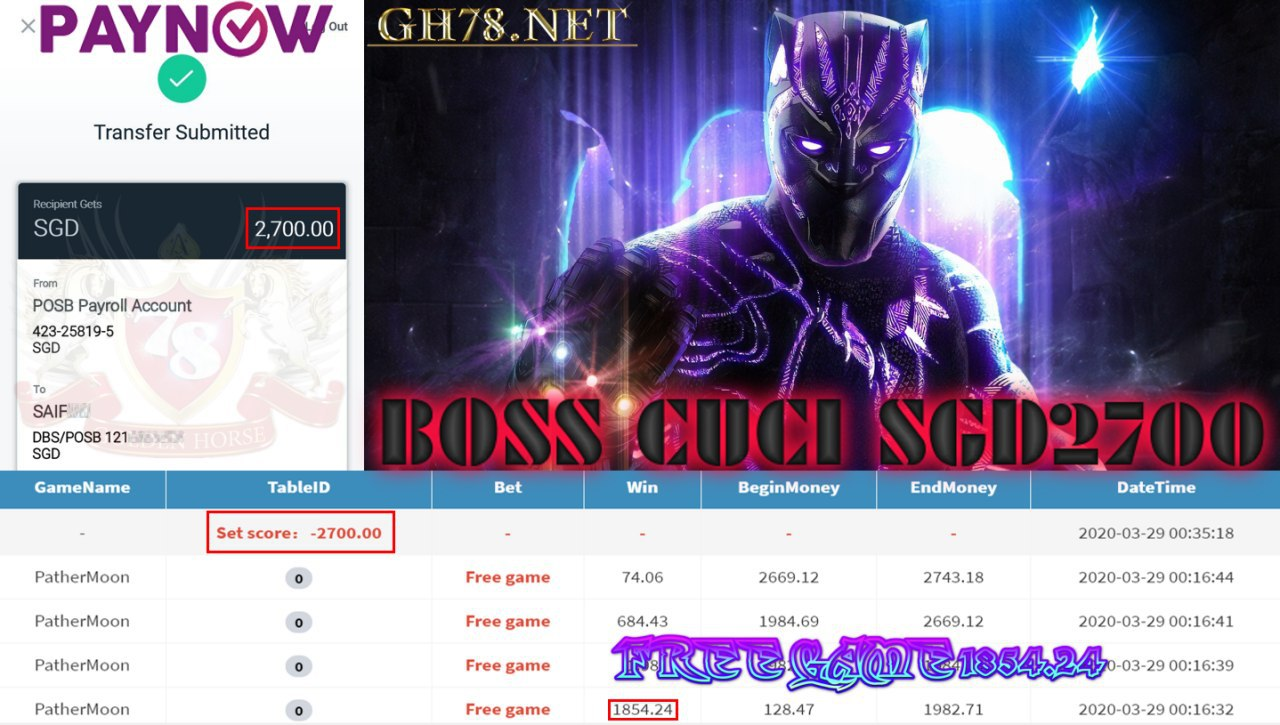 MEMBER MAIN PUSSY888 GAME PANTHER MOON MINTA OUT SGD2700!!!!