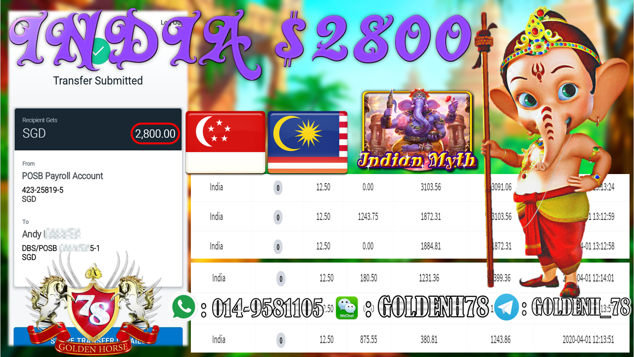 MEMBER MAIN 918KISS GAME INDIA MINTA OUT RM2800!!!