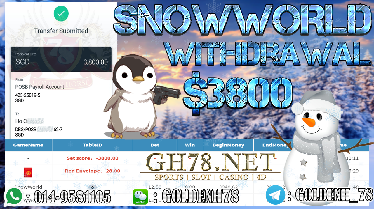 MEMBER MAIN MEGA888 GAME SNOWWORLD MINTA OUT $3800!!!