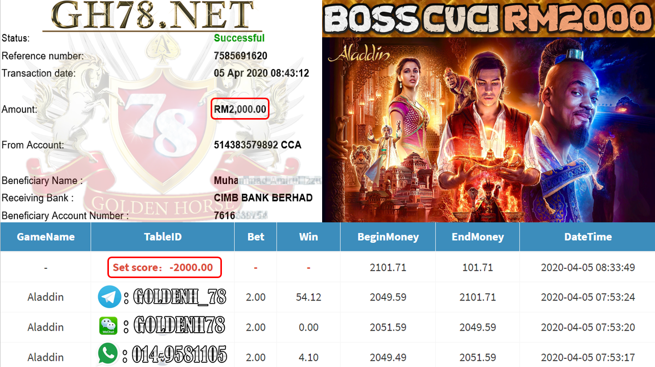 MEMBER MAIN PUSSY888 GAME ALADDIN MINTA OUT RM2000!!!!