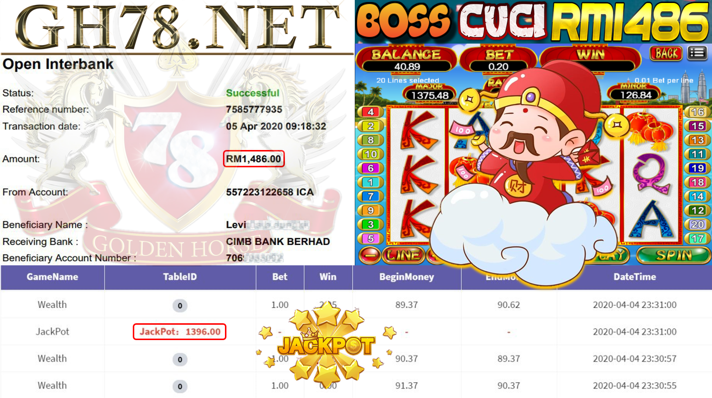 MEMBER MAIN 918KISS GAME WEALTH DAPAT JACKPOT MINTA OUT RM1486!!!!