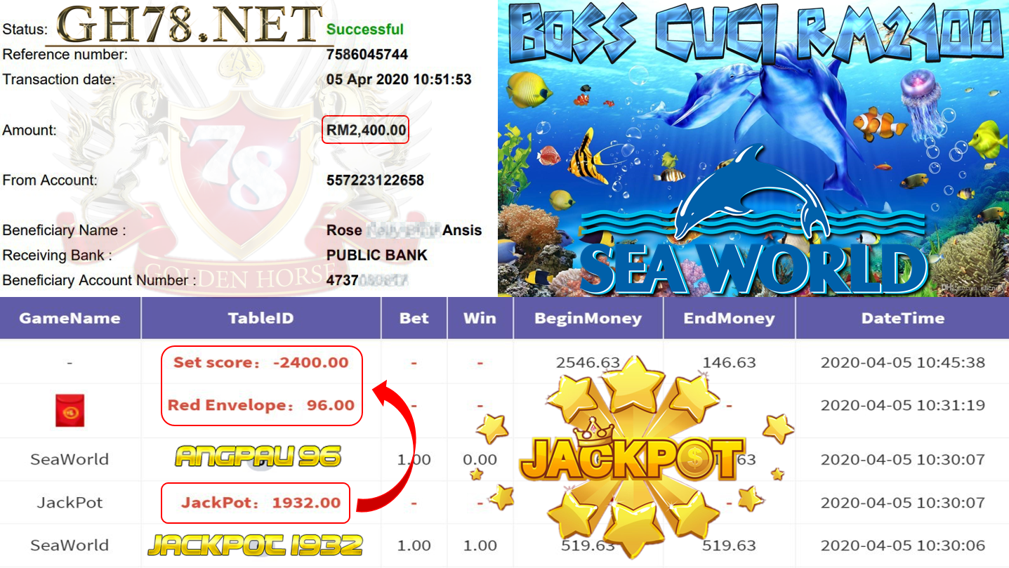 MEMBER MAIN 918KISS GAME SEAWORLD DAPAT JACKPOT MINTA OUT RM2400!!!!