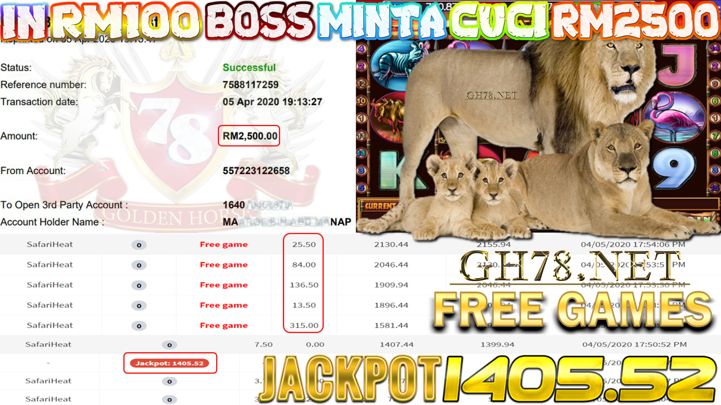 MEMBER MAIN XE88 GAME SAFARI HEAT DAPAT JACKPOT MINTA OUT RM2500!!!!