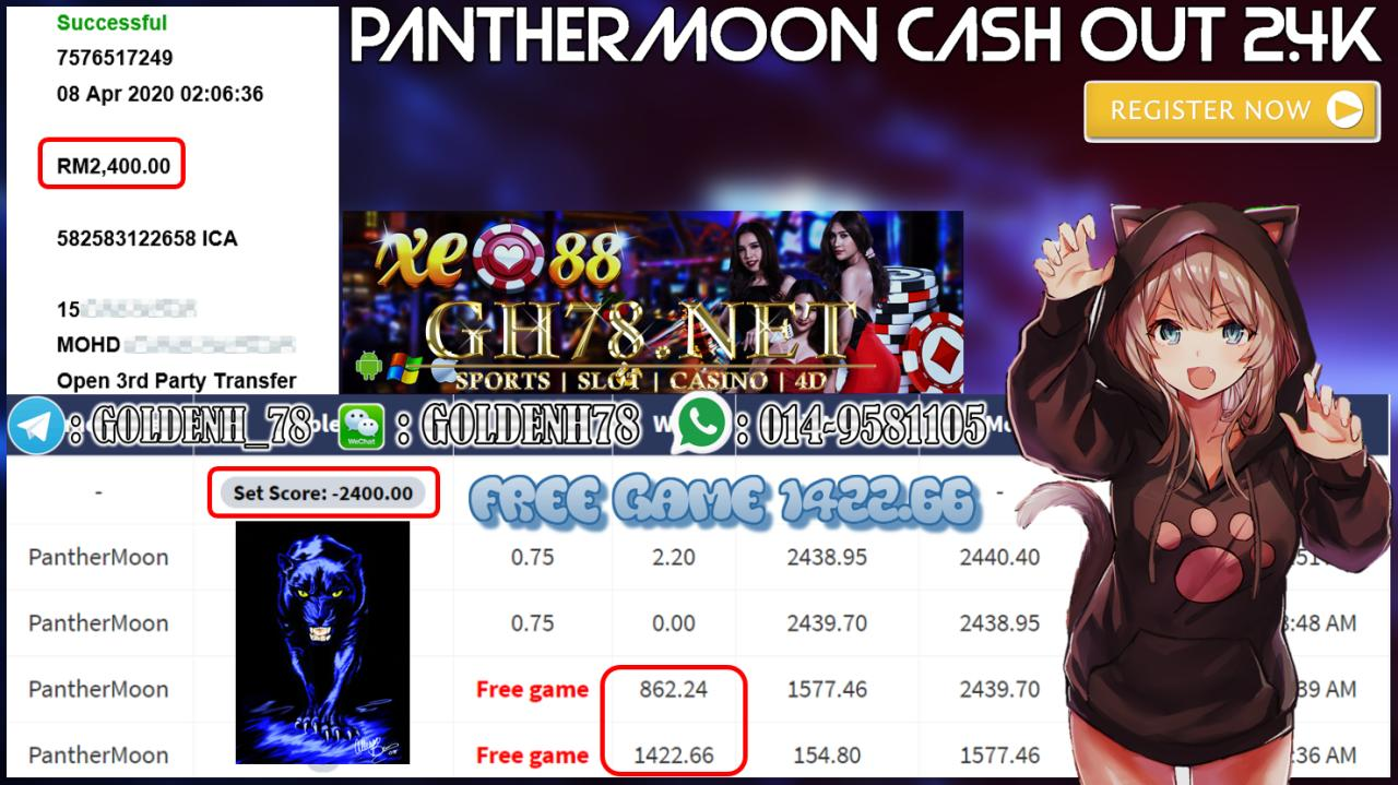 MEMBER MAIN XE88 GAME PANTHERMOON MINTA OUT RM2400!!!!