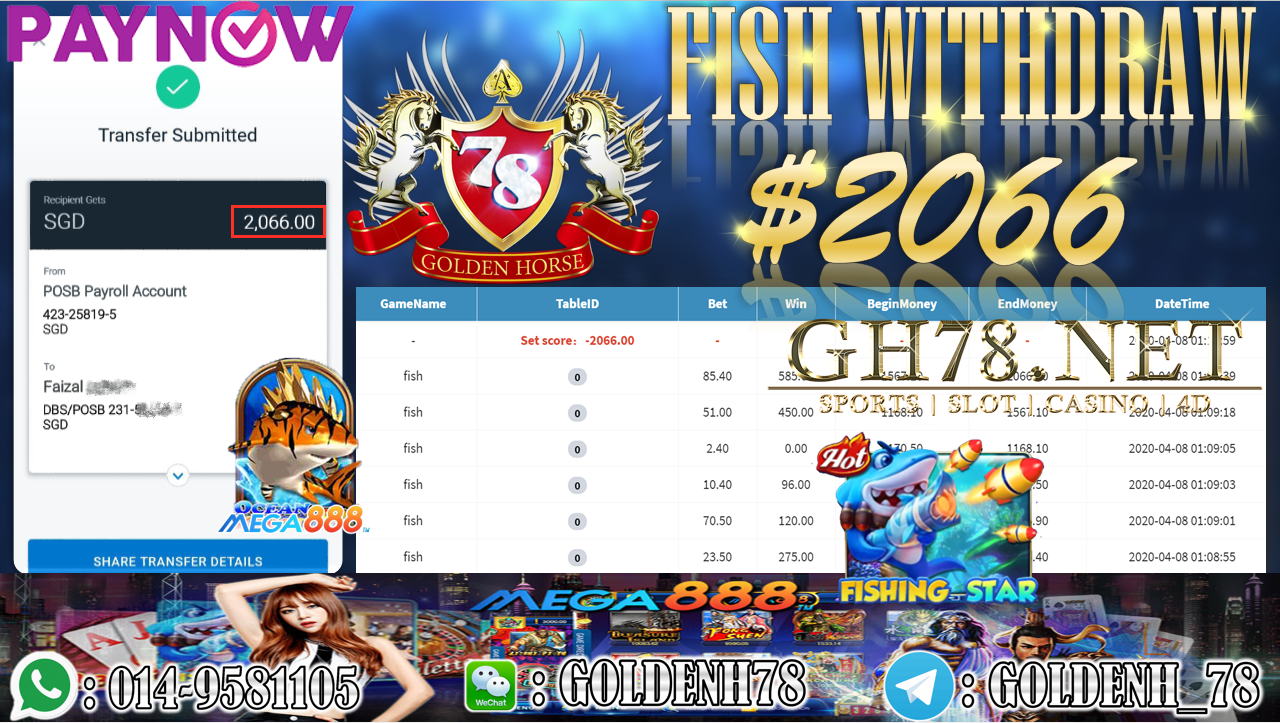 MEMBER MAIN MEGA888 GAME FISH MINTA OUT $2066!!!!