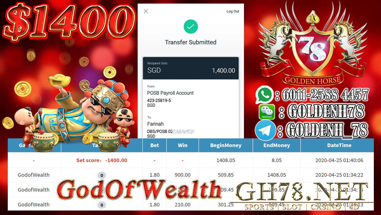 MEMBER MAIN GOD OF WEALTH CASHOUT SGD 1400