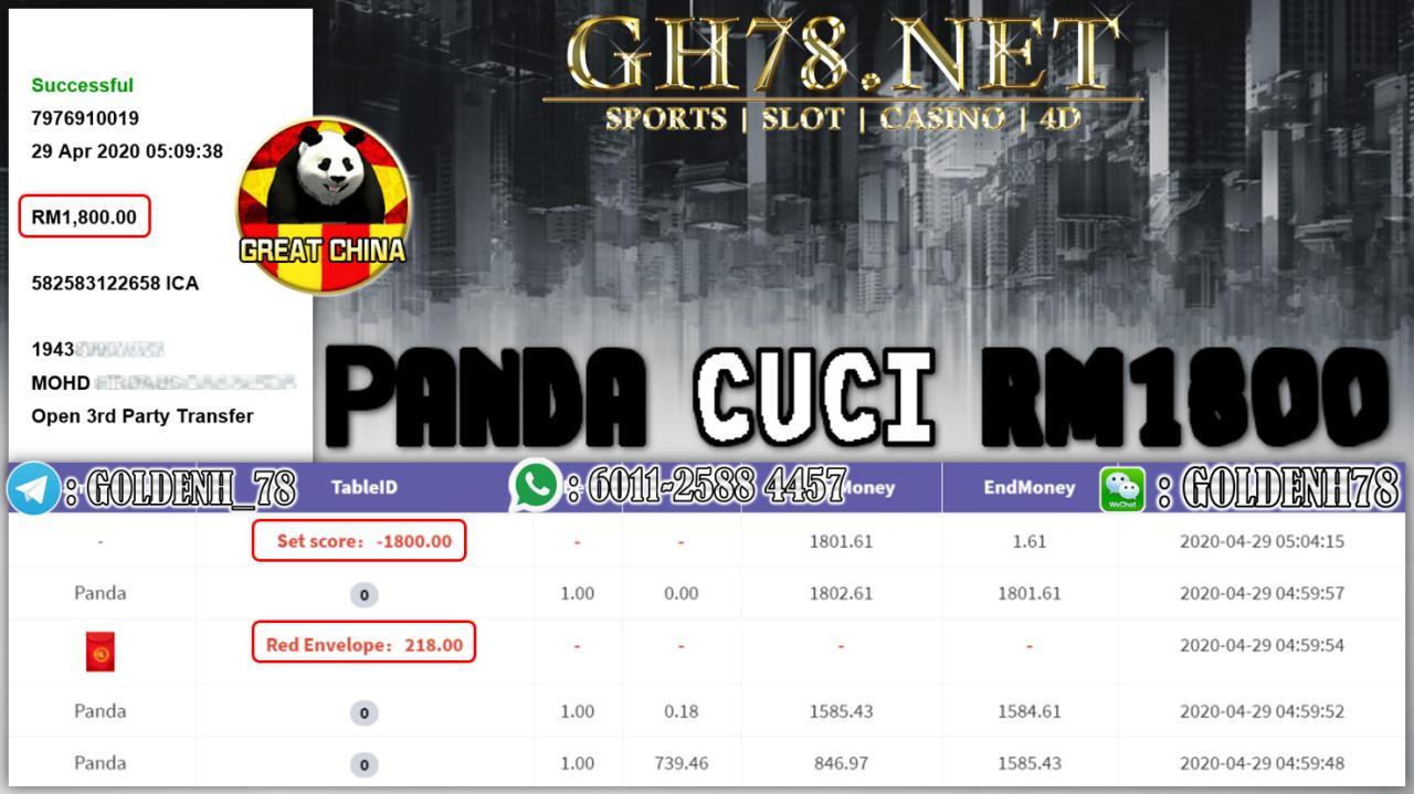 MEMBER MAIN PANDA MENANG 1.8K