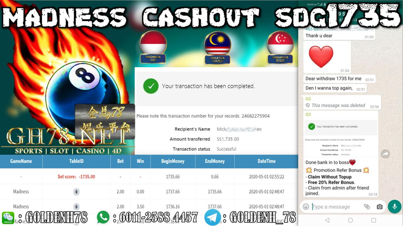 MEMBER PLAY MADNESS CASHOUT SGD1735