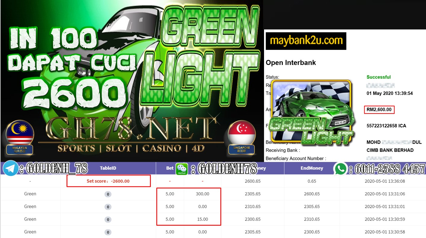 MEMBER IN 100 MAIN GREEN LIGHT CUCI RM2600