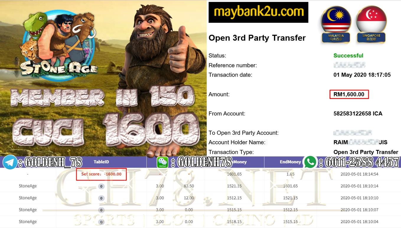 MEMBER IN 150 MAIN STONE AGE CUCI RM1600