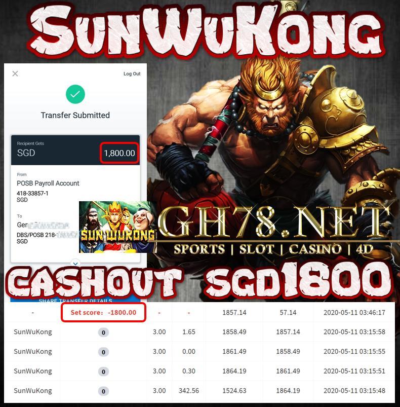 MEMBER PLAY SUNWUKONG CASHOUT SGD1800