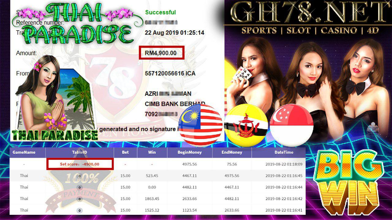 918KISS FT.THAI PARADISE MINTA CUCI RM4900 !!