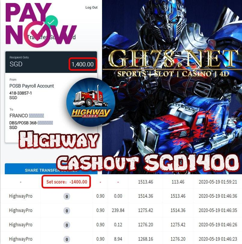 MEMBER PLAY HIGHWAY CASHOUT SGD1400 !!