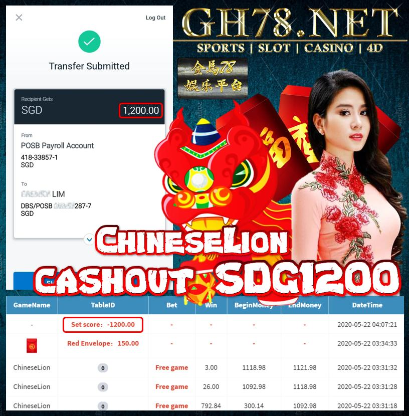 MEMBER PLAY CHINESELION CASHOUT SGD1200
