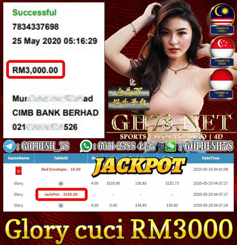 MEMBER MAIN GLORY DAPAT JACKPOT CUCI RM3000