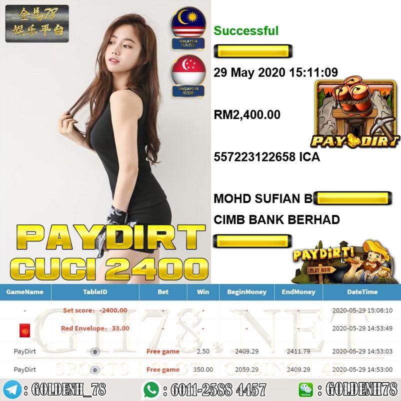 MEMBER MAIN PAYDIRT CUCI RM2400 !!