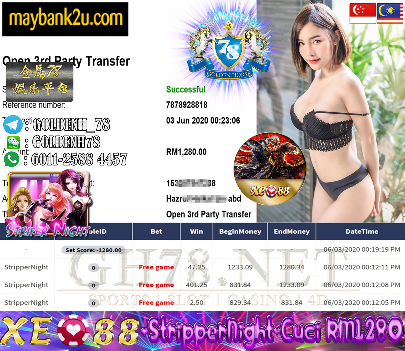 XE88 CUSTOMER MAIN STRIPPERNIGHT MINTA CUCI RM1280!!