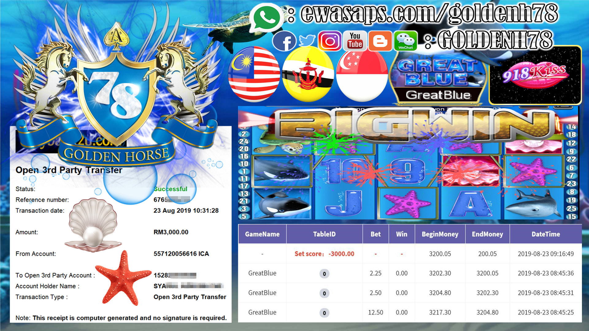 MEMBER MAIN 918KISS FT.GREAT BLUE OUT RM3,000