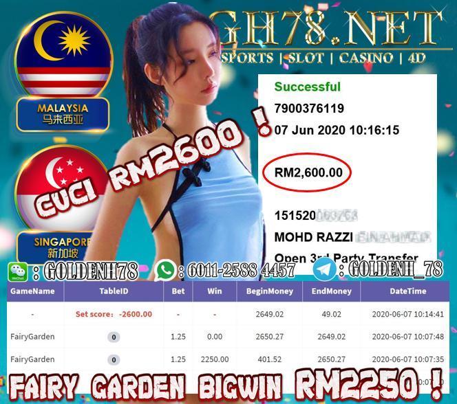 918KISS , MEMBER MAIN FAIRY GARDEN , DPAT BIGWIN RM2250 , MINTA CUCI RM2600